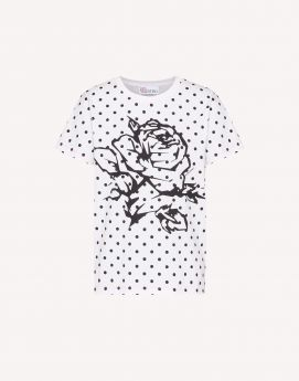 T-SHIRT CON STAMPA ROSE E POIS